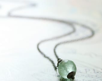 Fluorite Necklace Sterling Silver Mint Green Gemstone Oxidized Round Faceted - Absinthe Necklace