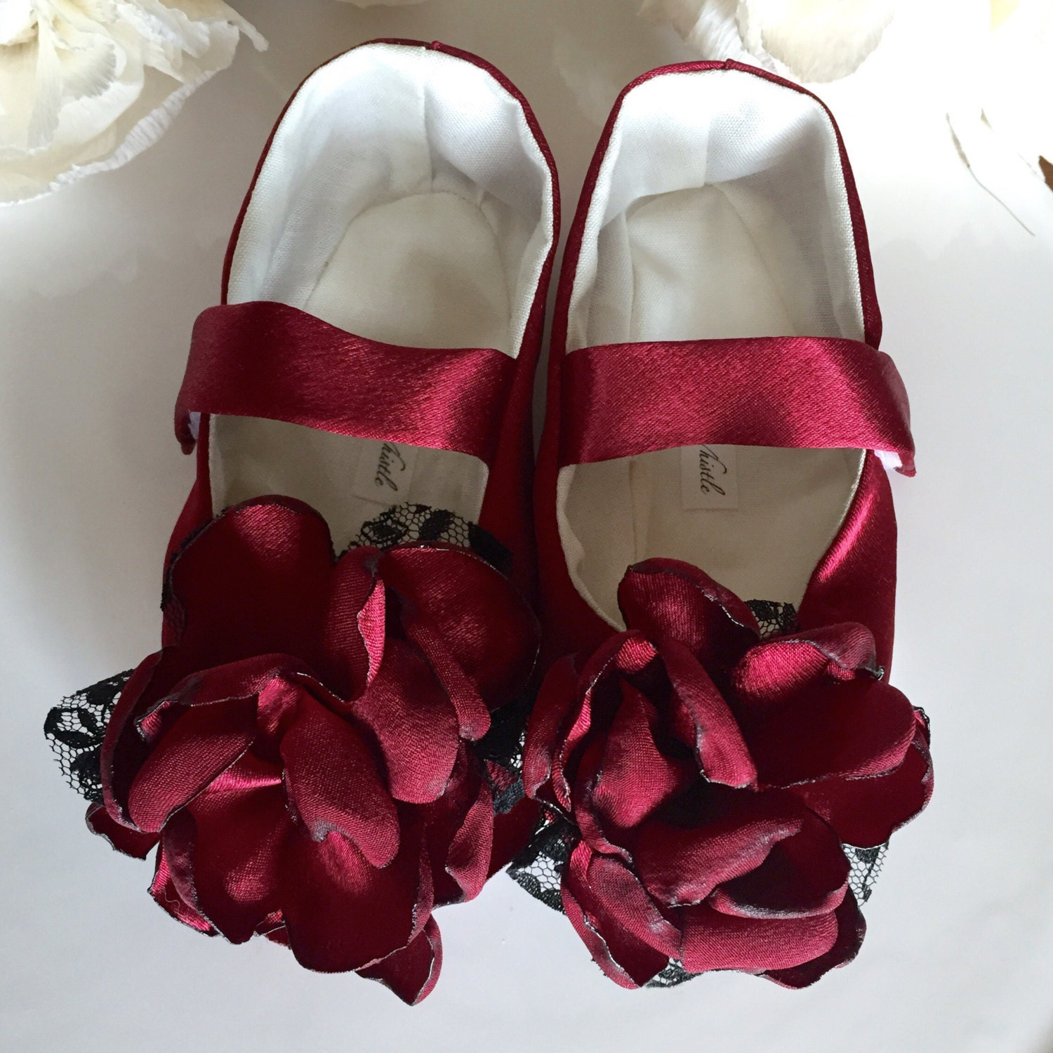 Ruby Red Satin Girl Dress Shoes Burgundy Baby Girl Shoes