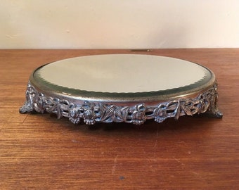 Antique/Vtg Mirror Plateau Pedestal w/ Ornate Metal Dragon Fly Base 10""