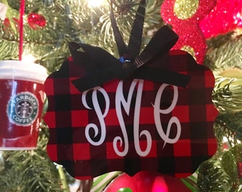 Buffalo Plaid Double Sided Christmas/Holiday Ornament