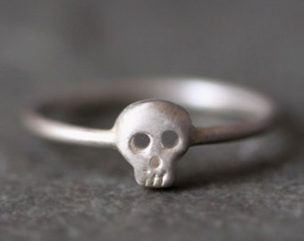 Baby Skull Ring in Sterling Silver
