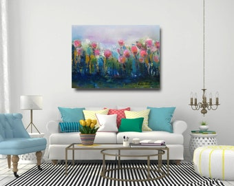 Floral art print on canvas,giclee art pink and turquoise home decor,wall canvas,floral art,painted flower,pink tulips,navy  pink art print