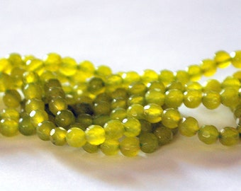 Half Strand 4mm Faceted Chartreuse Lime Green Agate Gemstones - 43 beads  LA