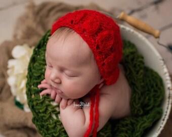 Red bonnet, Baby bonnet ,Christmas bonnet , Red hat photo prop