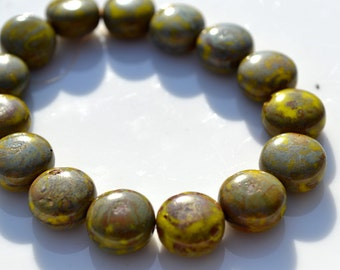 Mustard Yellow Green PIcasso 10mm Coin Beads  15