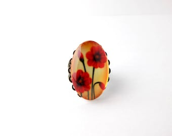 Baroque Bronze Ring Vintage Red Anemones Flowers Oval Cabochon