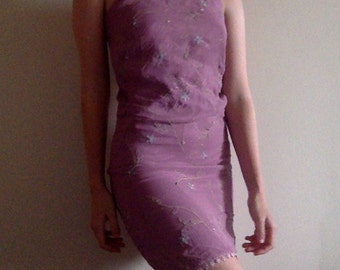 90s slip dress, pink, flower embroidery, xs