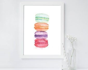 French Macarons // Hand Painted // Watercolor // Digital Print // Instant Download