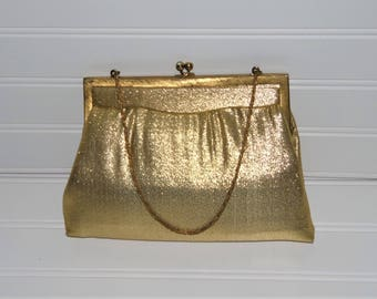 Vintage MM Gold Lame Purse / Vintage Clutch Handbag / Morris Moskowitz Purse / Prom / Formal Evening Bag / Gold metallic Purse