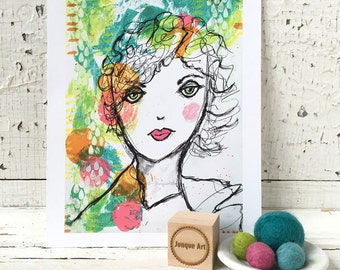 She Dreams In Color Mixed Media Art Print - 2 sizes available