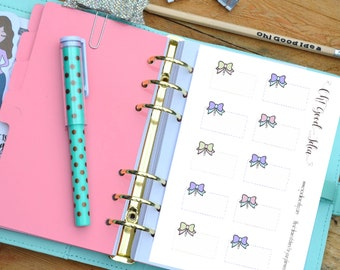 Bow Planner Stickers, Ribbon Half Box Stickers, Hand drawn Bow Half Box Stickers, Half Box Planner Stickers, Bow Functional Stickers