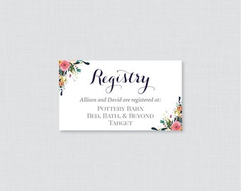 Wedding registry etsy printable or printed wedding registry cards floral wedding registry invitation inserts colorful flower registry junglespirit Choice Image