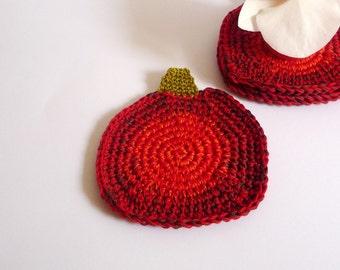 Pumpkin Farmhouse Decor - Crochet Pumpkin -Red Pumpkin Coasters - Set of 4 - Rustic Table Decor - Thanksgiving Decor - Hostess Gift