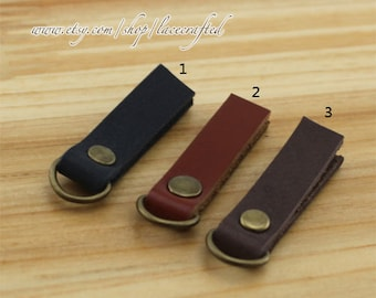 4pcs  Cow leather Zipper Head Genuine Leather Zipper Head Zipper puller genuine leather with D ring Zipper Head