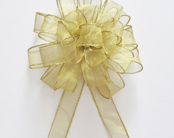 Sheer Wired Bow - Gold - Wired Bow - 25 Loops - Christmas Decoration - Wreath Bow - Party Decoration