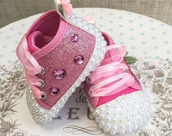 Newborn Girls' Pink Sneakers | Baby Girl | Pink Rhinestones and White Pearls | Ribbons | Embellished Shoes |