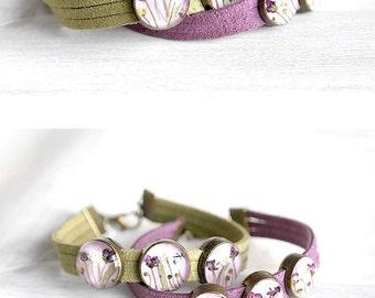 Purple bead bracelet green bracelet terrarium jewelry for gift for her Flowers bracelet natural bracelet flower Real flowers bracelet mother