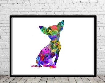 Chihuahua, Chihuahua print, watercolor art print, animal painting, home decor, watercolor print dog, animal art, dog (617b)