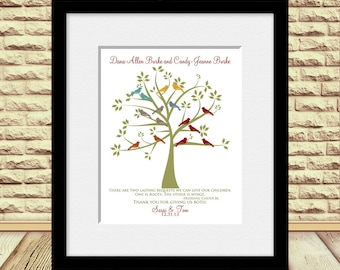 """Customized Family Tree Print, Personalized Anniversary Gift, Parent's Gift, Grandparent's Gift, Family Tree Print, """"Roots and Wings"""" Quote"""