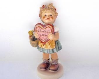 Hummel Exclusive Girl Figurine 387 - I hab Di Gern - Girl with Heart - Hummel Girl with Heart