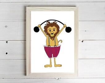 Strong Lion - Unframed Art Print, Lion Drawing, Nursery Picture, Animal Wall Art, Children's Decor, Kid's Bedroom.