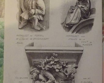 Old Documents, Architecture and Sculpture 1913 Marmouset pendant stalls Munster Cathedral Church Bassaucourt Portal