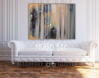 "Sold Abstract Painting Teal, Blue, Green, Pastel, Ombre Glitter with Glass and Resin Coat 36"" x 48"" real gold leaf Ikat ""morrow bay"""