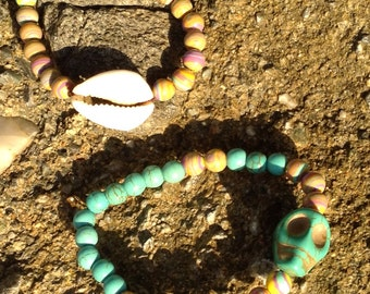 Rainbow turquoise and shell or skull bracelet