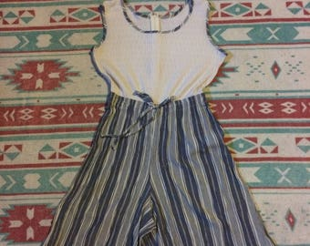 Vintage Striped Sleeveless One Piece Shorts Romper