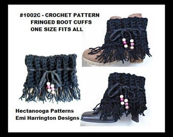 CROCHET PATTERN, fringed boot cuffs, crochet for women, teen accessory, winter clothing, gift for her, #1002BC
