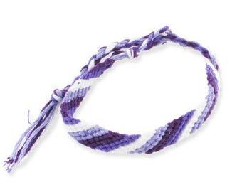 Diagonal Friendship Bracelet purple, lilac and white * 1