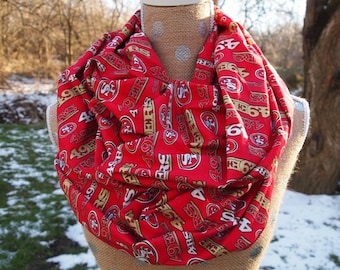 San Francisco 49ers Glitter NFL Football GameDay Infinity Scarf 10x70 Double Loop