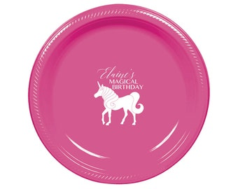 Unicorn Party Lunch Plates Custom Plates Personalized Plastic Plates Birthday Decorations Unicorn Party Magic Party  sc 1 st  Etsy & Party Plates Dinner Plates Custom Plates Any Design Event