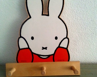 Vintage, Miffy,wooden, coat rack with three hooks.