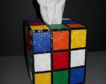 Rubix Cube 8-bit Perler Bead Tissue Box Cover