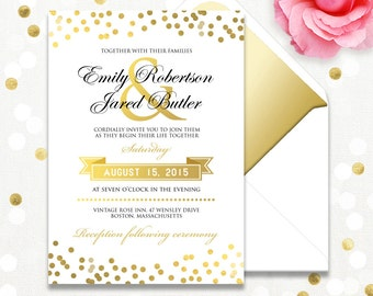 Gold Weddings Invitation Printable - Glam Golden Confetti or Light Blue & Gold - Summer Invite Cards EDITABLE text Template INSTANT DOWNLOAD