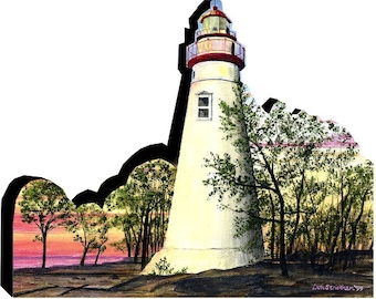Marblehead Light in summer Lake Erie woodblock collectible