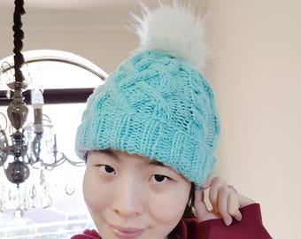 READY TO SHIP-Cable knit beanie with White fur pom pom - Mint colour beanie - Fur Pom Pom Hat - Knit beanie - Winter Hat