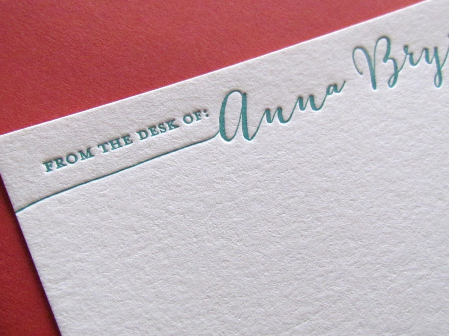 Letterpress From the Desk of Personalized Stationery Set of