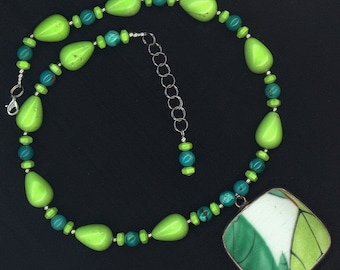 Chunky Lime Green and Blue Turquoise Necklace with Shard Pendant