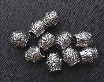 10 Tibetan Carved Silver Metal Dreadlock Beads Set for Necklace Pendant, Bracelet or any DIY Beading Craft