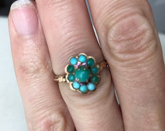 A Turquoise 9k ring, Edwardian