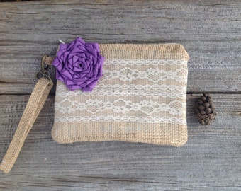 Purple Bridesmaid Clutch, Spring Wedding Bag, Burlap and Lace Wristlet, Rustic Chic Wedding, Spring Wedding Bag, Maid of Honor Bag