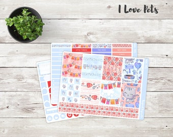 I Love Pets Mini Weekly Kit | Mini Kit | Weekly Stickers | Weekly Planner Stickers Kit
