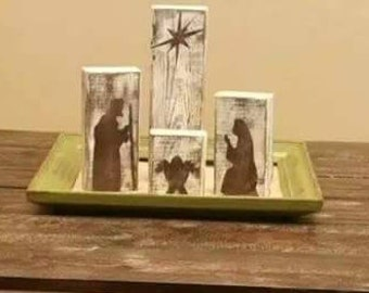 Hand Painted Four Block Nativity - Brown/White