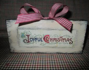 Wood, shelf filler, Home decor - Joyful Christmas