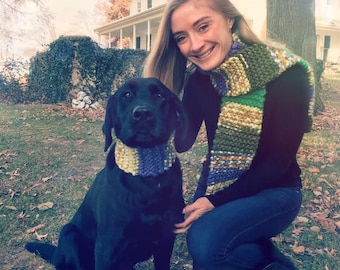 colorful, handknit scarf for you and your best friend