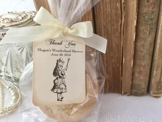 Alice in Wonderland Bridal Shower Cellophane Treat Bags, Cookie Favor Bags, Cello Favor Bags, Tags, Ribbon, Set of 10