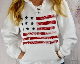 American Flag Hooded Sweatshirt. 4th of July Sweatshirt. Hoodie. USA Sweatshirt. American Flag Top. Sports Hoodie. Patriotic Clothing