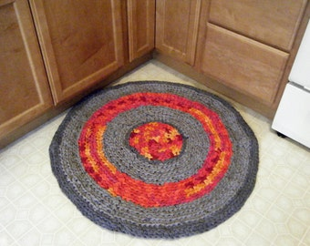 Gray Rag Rug with Bright Colors Accent\Gray Round Rag Rugs